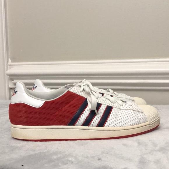 adidas superstar red white
